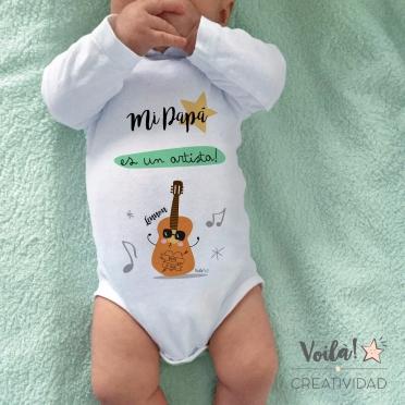 Body bebe personalizado papa artista guitarra