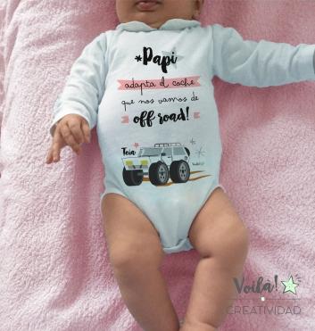 Body bebe personalizado todoterreno papi rosa