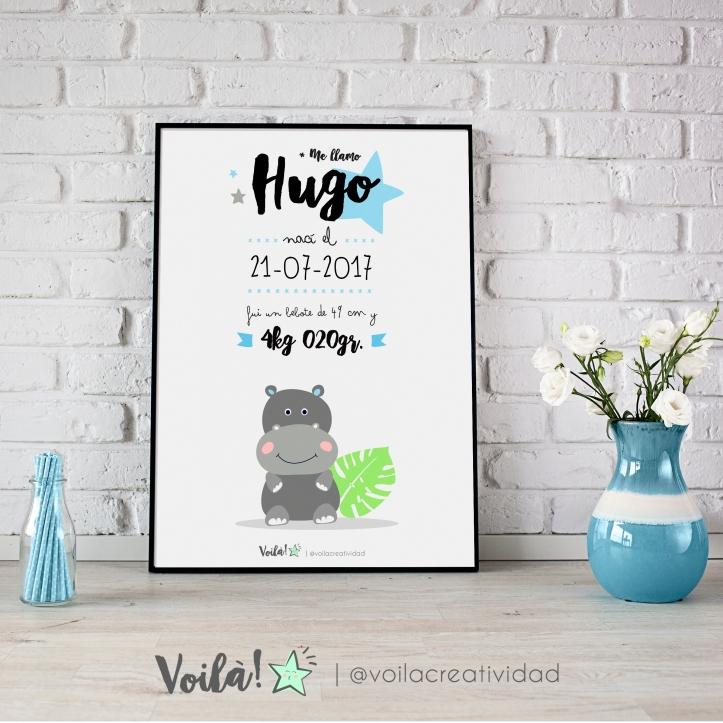lamina nacimiento hipopotamo HUGO