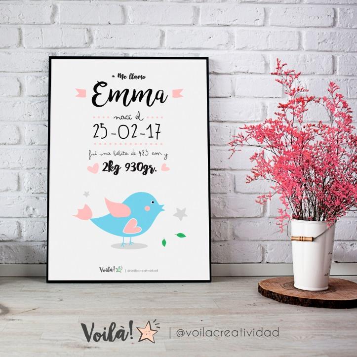 llamina nacimiento EMMA pajarito azul rosa voila creatividad