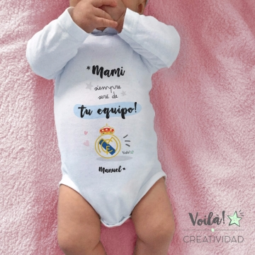 Body bebe personalizado real madrid futbol