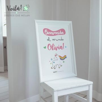 Bienvenida unicornio bebe Olivia
