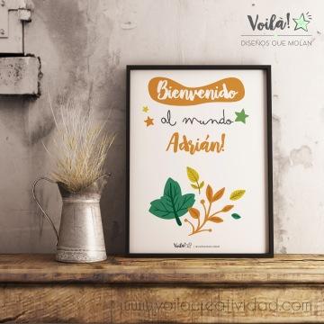 Bienvenido al mundo otoño bebe hojas mostaza cuadro