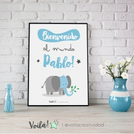Bienvenido al mundo PABLO elefante azul bebé