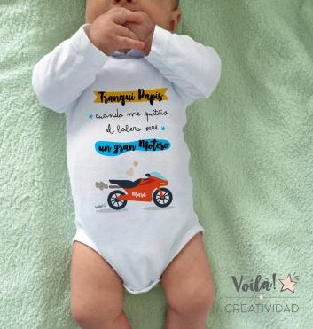 Body personalizado tranqui papis bebe motero marquez