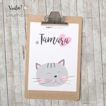 Lámina gatito rosa nombre Tamara