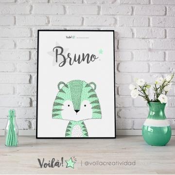 Lámina tigre Bruno verde mint