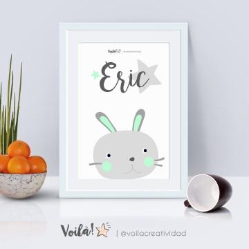 Lámina gato verde mint nombre Eric