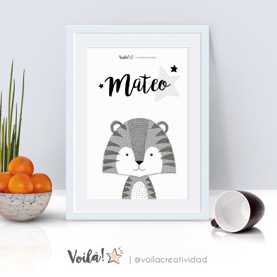 Lámina tigre blanco y negro Mateo