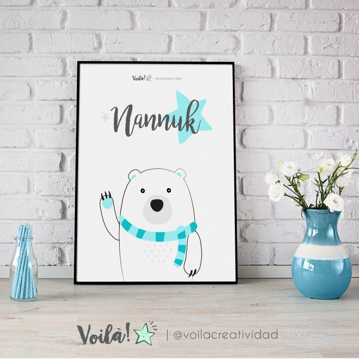Lámina oso polar azul celeste