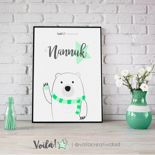 Lámina oso polar verde mint