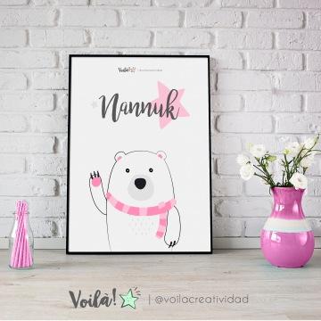 Lámina oso polar rosa