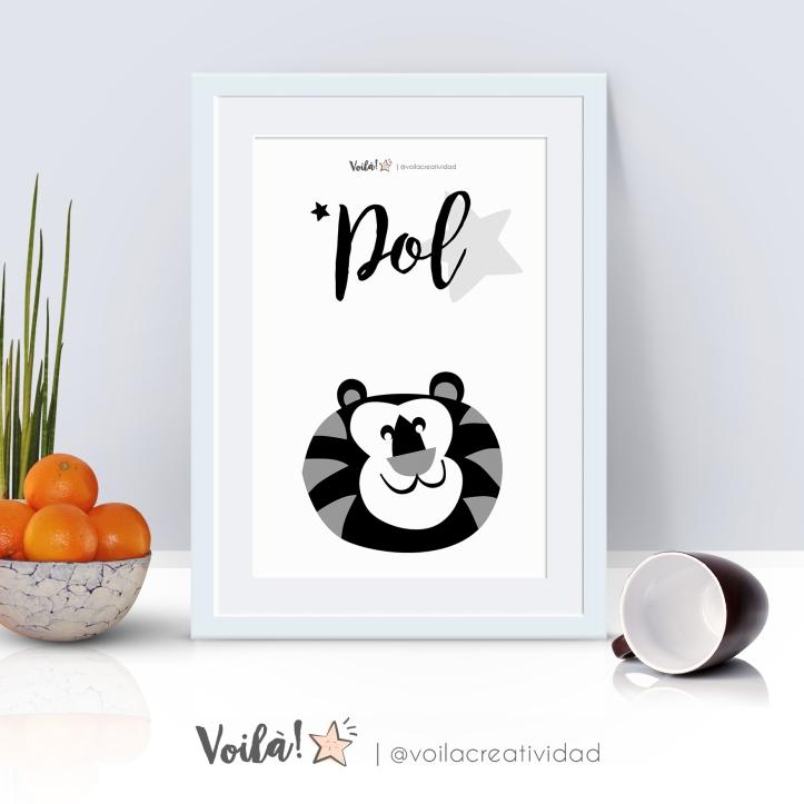 Lámina blanco y negro leon Pol