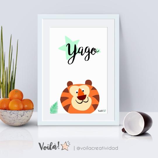 Lámina leon nombre Yago