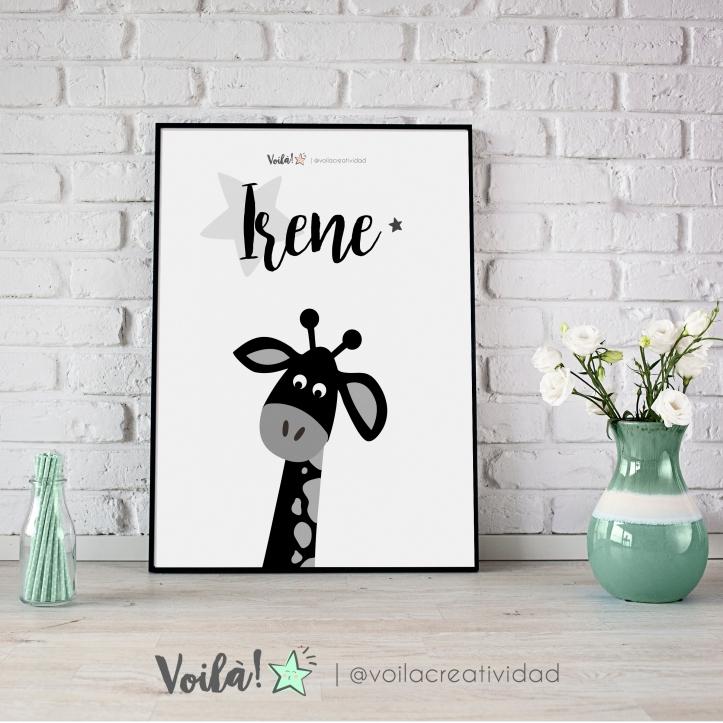lamina poster jirafa blanco y negro bebe voila creatividad