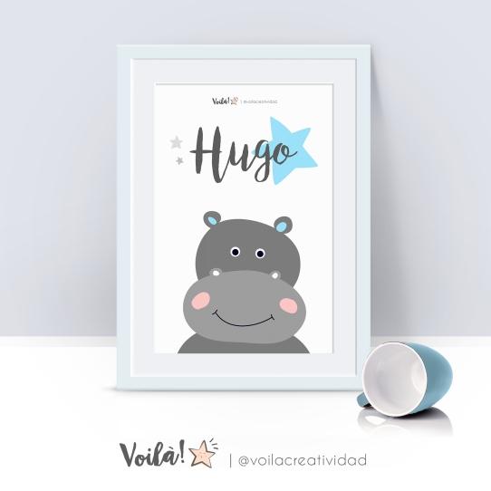 Lámina infantil hipopótamo Hugo