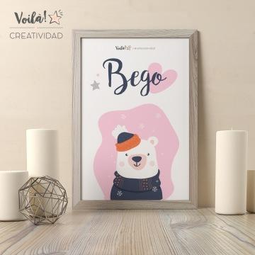 Lamina bebe navidad decoracion oso polar rosa
