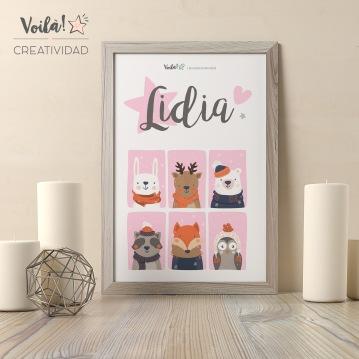 Lamina bebe rosa navidad animales decoracion reno oso polar
