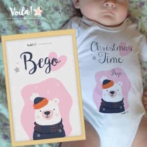Pack lamina y body navidad bebe oso polar