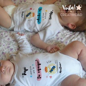 Body camiseta real madrid personalizado hermanos
