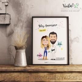Lamina poster caricatura avatar pareja aniversario voila