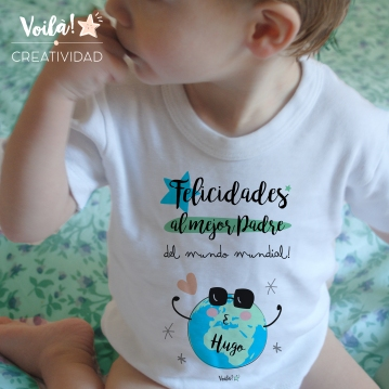 Camiseta bebe nino personalizada mejor padre del mundo