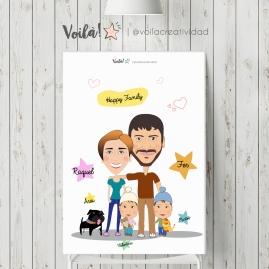 Poster personalizado caricatura avatar familia regalo (1)