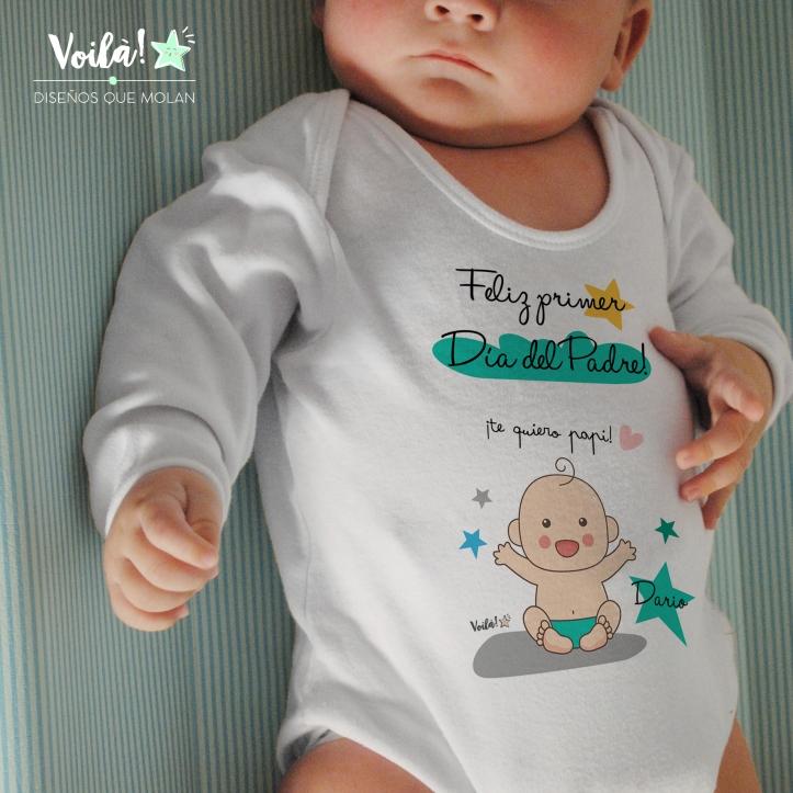 feliz dia padre body personalizado bebe