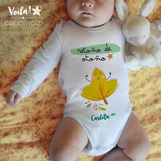 body bebe otono mostaza hojas personalizado