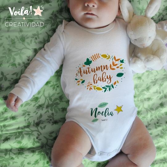 body bebe verde hojas otono personalizado