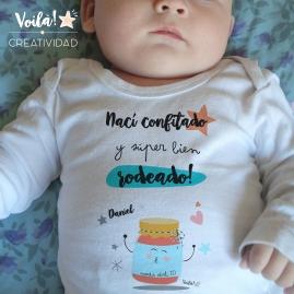 body bebe personalizado confitado mermelada feliz regalo